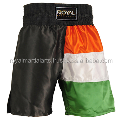 Ireland Flag Design High Quality Boxing Trunk Boxing Shorts Fine Sating Custom Made