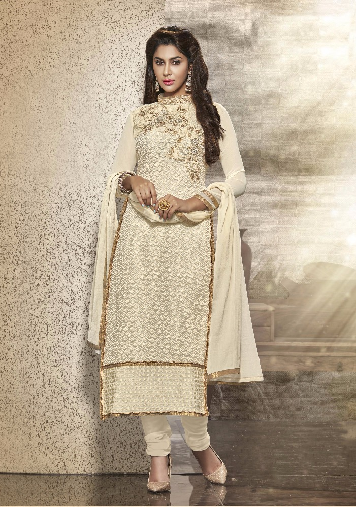 Embroidered Soft Net,Georgette Dress Material