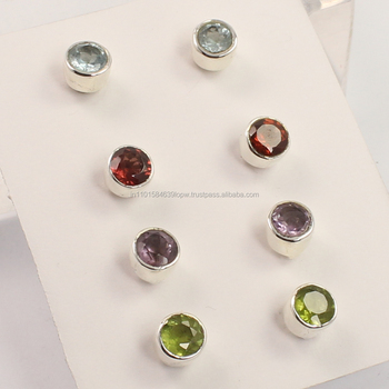 stud earrings 925 Sterling Silver 4 Pairs Set Natural MULTI-COLOR Round Gemstones