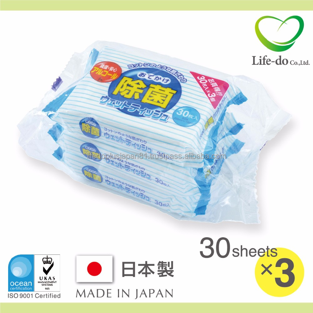 sanitary and soft clean detergent hand sanitize wet tissues made in Japan 30 sheets x 3P