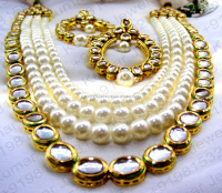 Ethnic Kundan Stone Designer Pearl Beaded Chain Long Wedding Party Bridal Wear Latest Design Costume Golden White Neckset