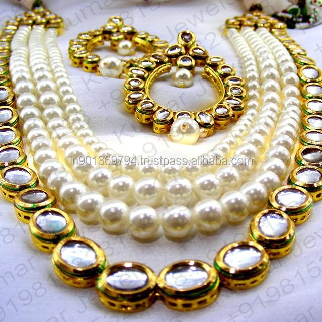 Ethnic Kundan Stone Designer Pearl Beaded Chain Long Wedding Party Bridal Wear Latest Design Costume Golden White Neckset