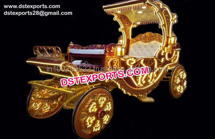 Wedding Carved Horse Drawn Carriage/ Wedding Lighted Decorated Buggy/ Maharaja Wedding Buggy