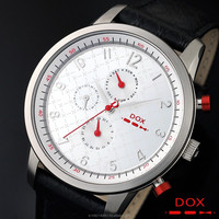 Casual Fashion Watch for Men 24 Hour Day Date Display Stainless Steel Case Genuine Leather Band Japan Movement DOX Made in Korea