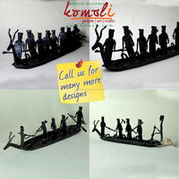 Handmade Iron Sculpture Decorative - Tribal Art from India - Large Iron Boat