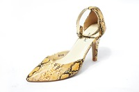 Yellow Snake Skin Pumps Dress Shoes
