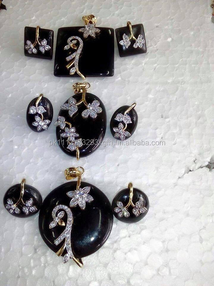 2015 Newest Design Hand Made Pure Silver loket set & ear rings with Original Stones in different colors and shapes