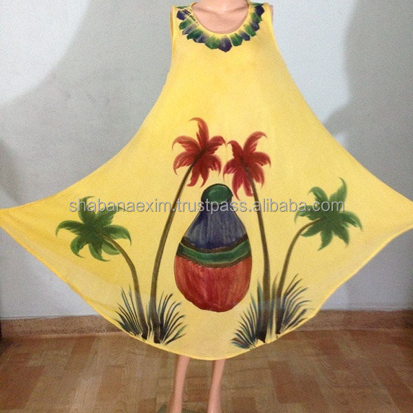 Hand printed Umbrella Dress yellow maxi clothing India