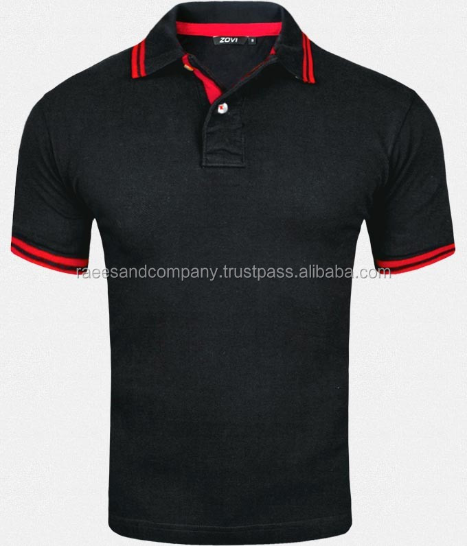 new low price 100 cotton black red design men tshirt printing with polo collar / Polo Shirts