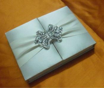 Designer Royal Gatefold wedding silk folio card box invitation with rhinestone brooch