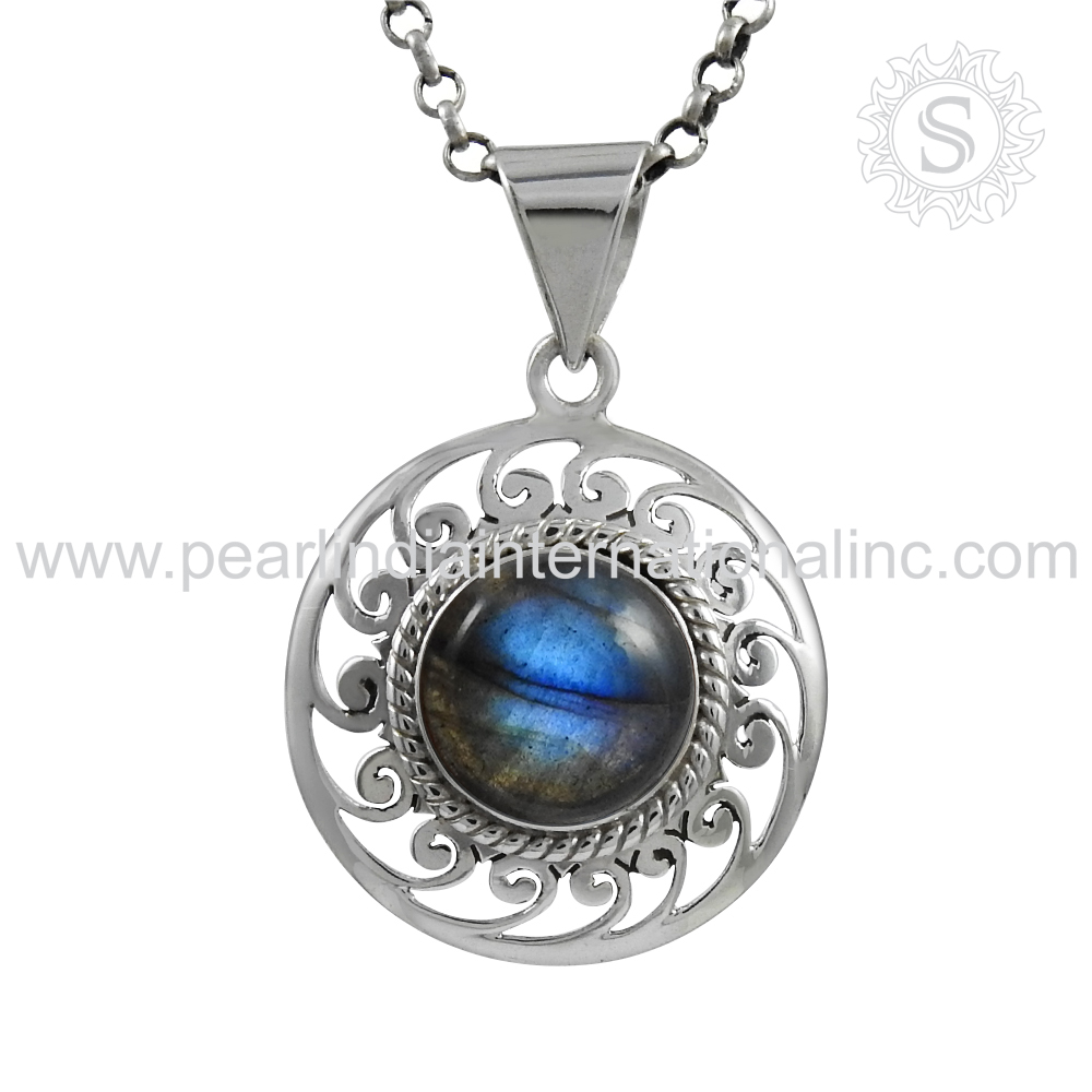 glittering blue fire labradorite pendant wholesale silver jewelry 925 sterling silver pendant jaipur handmade jewelry