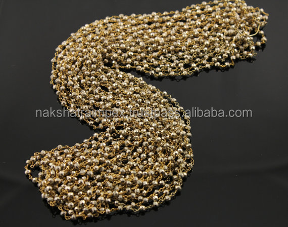 Natural Pyrite 3-4mm Roundel Faceted Beaded Gold Plated Rosary Chain