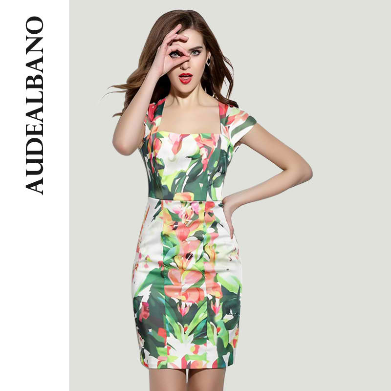AUDEALBANO New High-End Fashion Women Elegant Floral Printed Dress Casual Square Collar A-Line Tunic Dresses