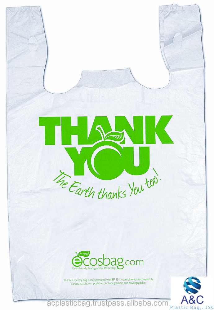 "Hot sale Shopping promotion T shirt plastic bag ""Thank you"" Custom printed"