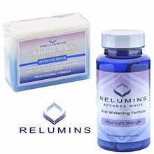 WHOLESALE RELUMINS WHITENING SET - ADVANCE WHITE ORAL GLUTATHIONE & STEM CELL INTENSIVE REPAIR SOAP- NOW WITH ROSE HIPS