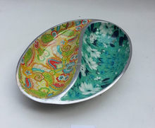 oval shape antique two coloured enamel aluminum metal bowls