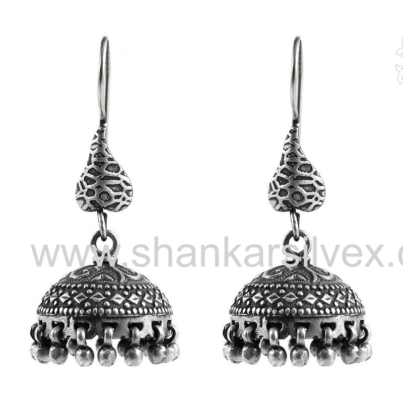 High Polish Jhumka Design 925 Sterling Silver Earring Indian Jewelry Wholesale Silver Jewelry Manufacture