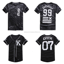 Black camo sublimation print baseball jersey, blank stripe sublimation & embroidery baseball t shirt jersey style/t shirt