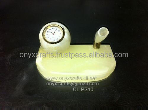 Desk Clock with Pen Holder in Onyx stone
