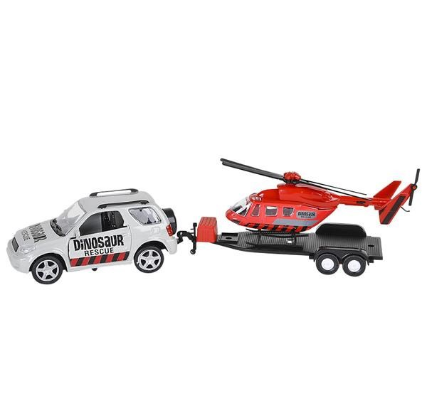 DINOSAUR 4X4 WITH TRAILER AND HELICOPTER