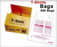 Plastic t shirt shopping bags