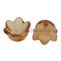Coffee Dyed Transparent Acrylic Flower Beads, about 10mm wide, 6mm thick, hole: 1.5mm