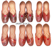 online wholesale shopping Indian Vintage Pure Leather Mojari Shoes Flat Slipper Pure Jutti From India