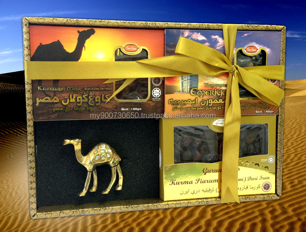 Hamper Set - 1 box of Piarum (Mariami) Dates 350gm + 1 box of Egyptian Dates 400gm + 1 box of Iranian Dates 400gm + Camel