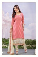 Peach Faux Georgette Jacquard Kameez with Straight Pant