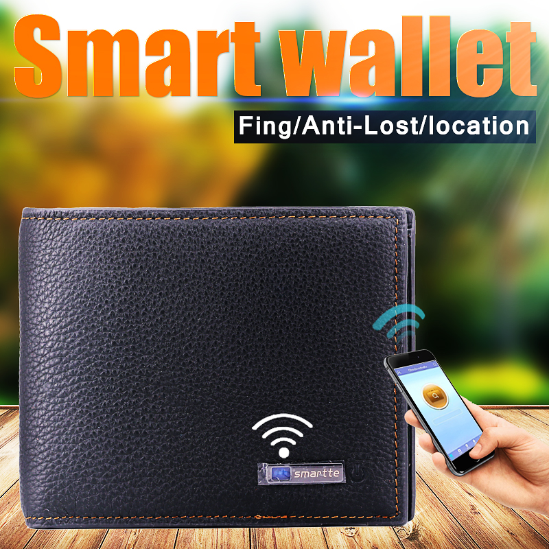lady long genuine leather wallet anti thief money protect GPS wallet