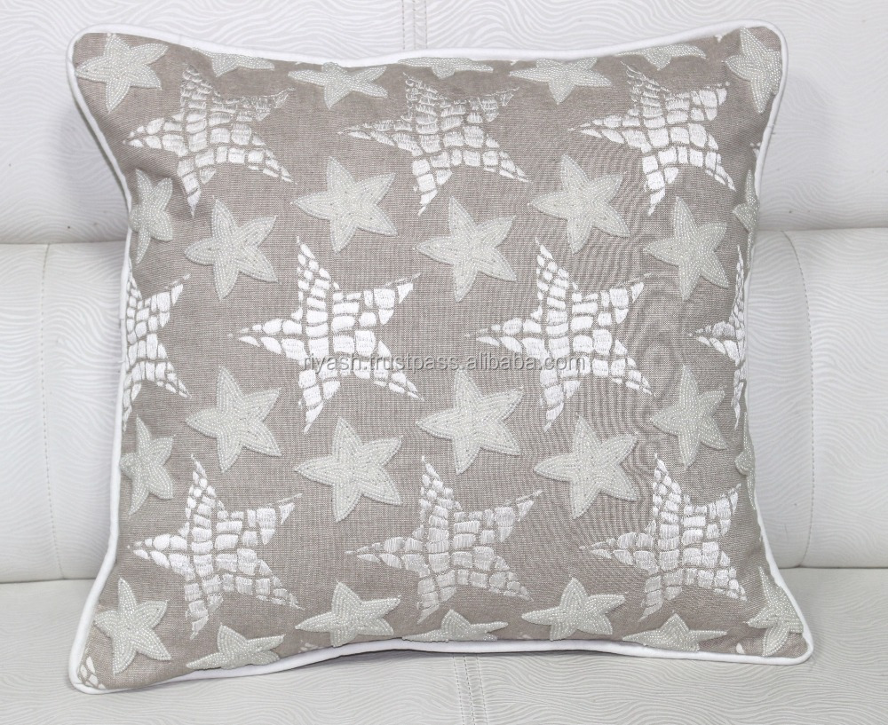 Cotton Thread Handwork with Glass Beaded stitched Star Design Linen Cushion Cover with Pieping - 50 Cm Sq.