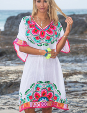 Summer White Stunning FrontAari embroidery beautiful dress/V neck pink lace trim 3/4 wide kimono style sleeves Relaxed fit Tunic