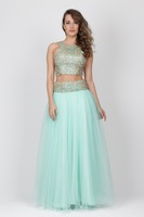 High Quality Turkish Mint Short Evening Dress