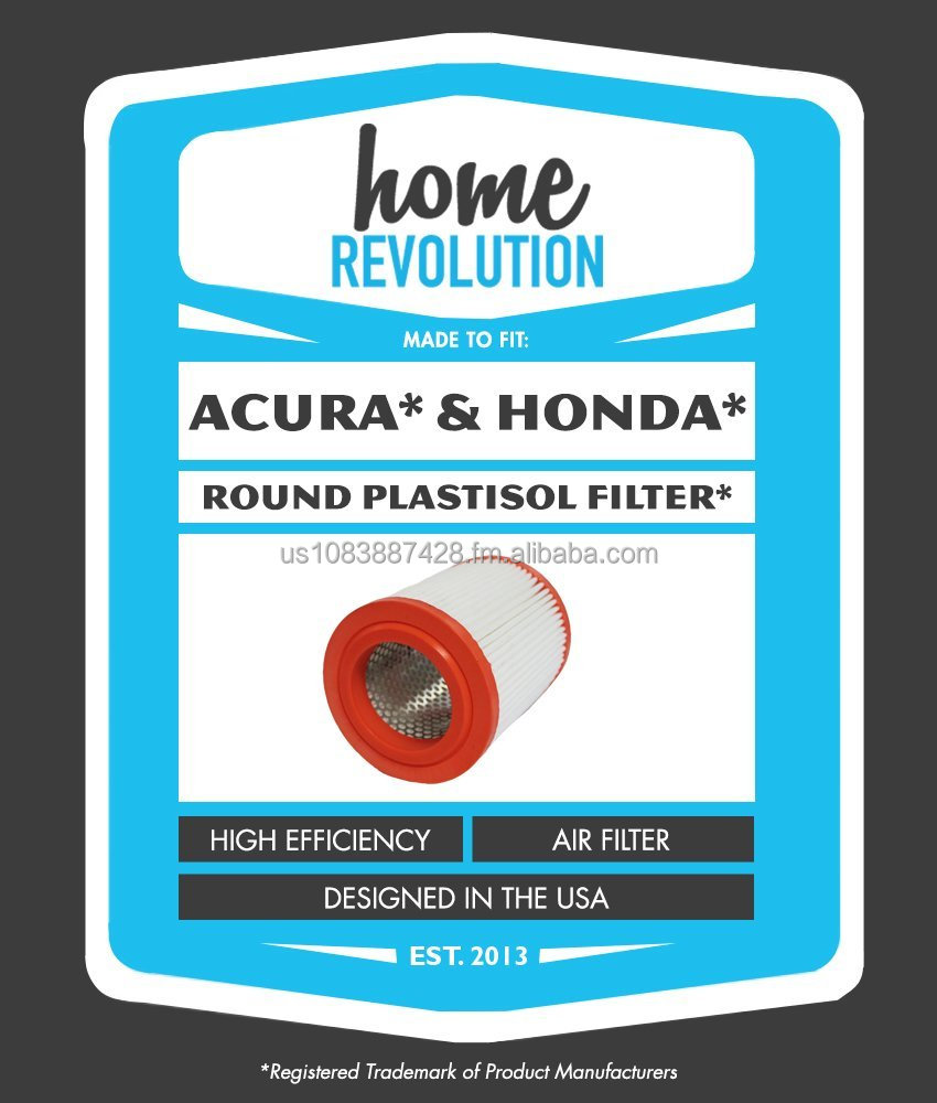 Acura CA9493 & A25456 Comparable Round Plastisol Air Filter. A Home Revolution Brand.