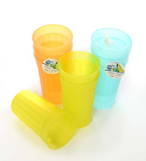 Plastic Cup 3pc, 4 Color Asst per CS.
