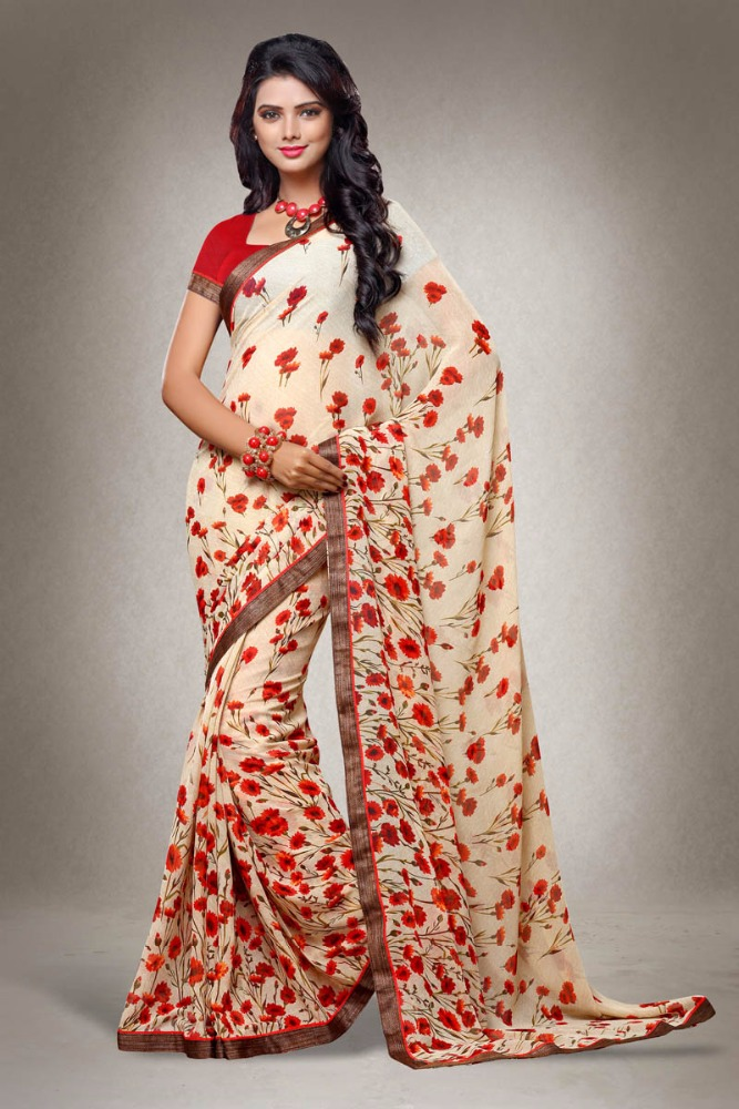 Georgette Digital Printed Fancy Saree with Banglori Silk Blouse