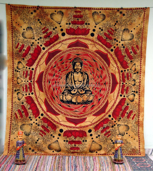 Lotus Buddha Indian Mandala Tapestry Wall Hanging Decor Ethnic Bedspread Buddhism