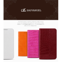 11052 For iPhone 6 6S 6Plus 6sPlus 100% Genuine Leather Sauvanuel Tera Croco Flip Smart Cellular Mobile Phone Case Cover Casing