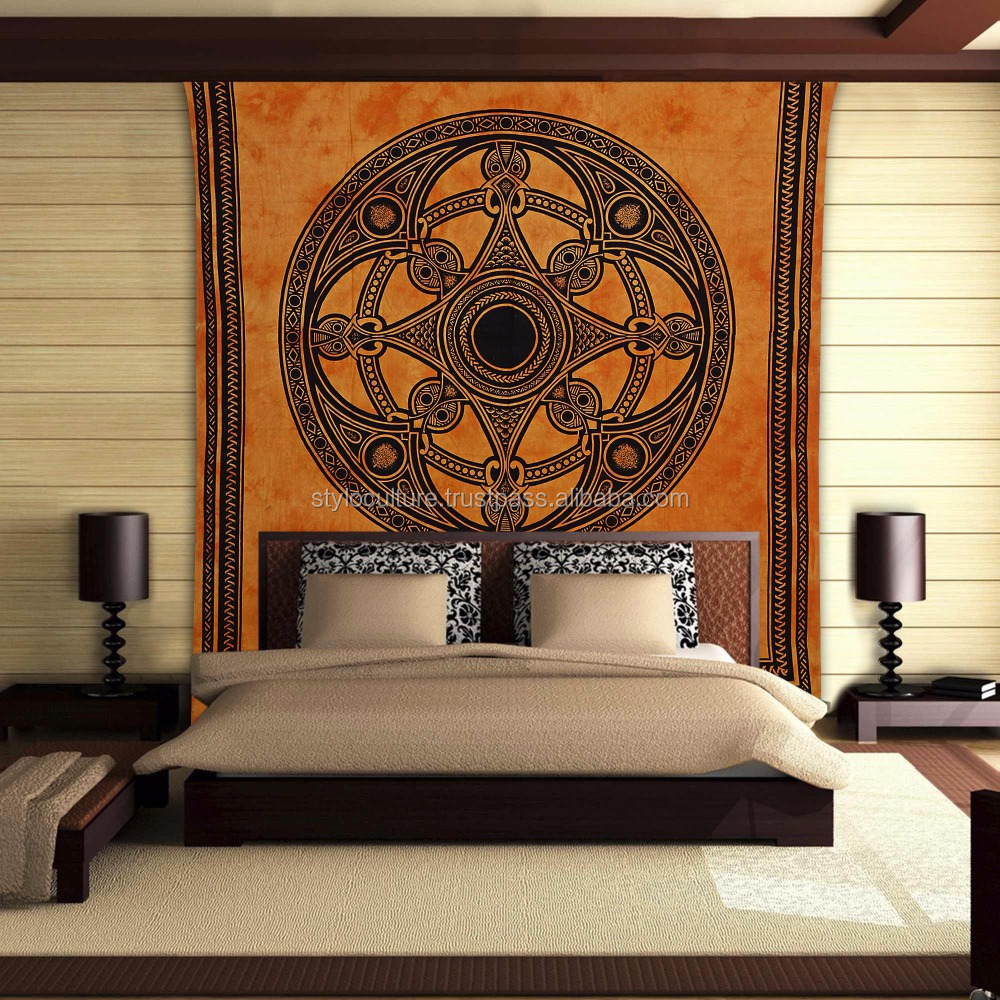 Psychedelic Wall Tapestry 100% Cotton Mandala Wholesale Bedspread Tapestries Queen Printed Wall Hanging