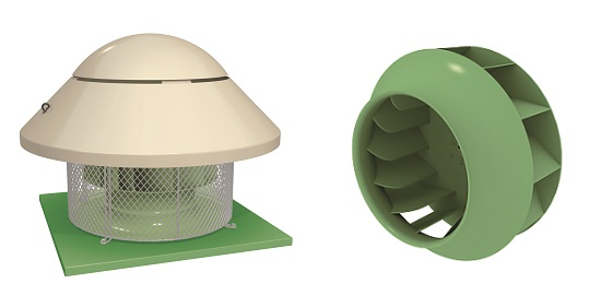 ACI BT 451/D The exhaust towers high capacity centrifugal fan impeller. Fibreglass roof. Base for securing to the roof.