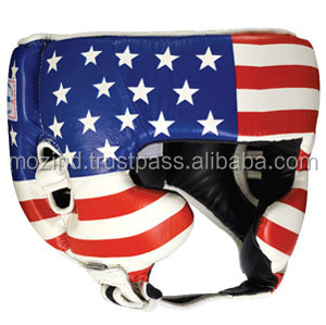 Boxing Training Headgear Head Guard, Face Protection black / Boxing equipment / American Flag printed