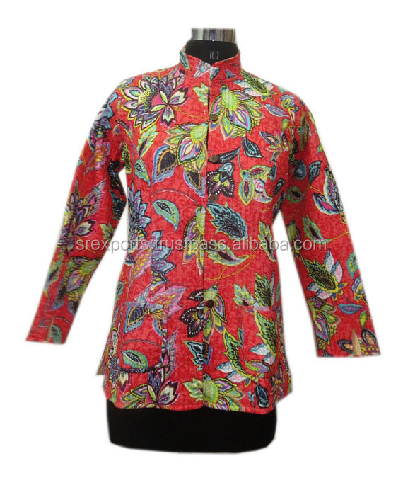 Handmade Cotton Jacket Women Short Slim Fit Coat Floral Print Quilted Jacket