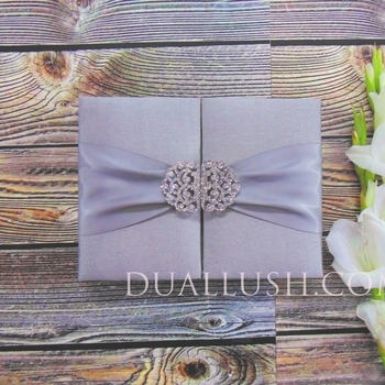 Hot Sale Couture Luxury Silk Wedding Invitation Box Silver With Buckle and Ribbon Bow