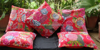 Wholesale Latest 2017 Designer jaipur sanganer Stiched Floral Print Cotton kantha sofa Cushion Covers