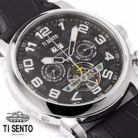Automatic Ti Sento Brand Dress Fashion Watch for Men Stainless Steel Case Waterproof Genuine Leather Strap Korea Made 31WTBdt