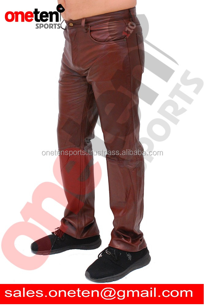 Brown 5 Pocket Lambskin Leather Pants / softest leather pants