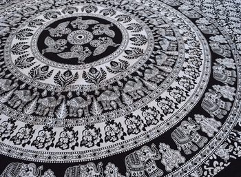 Black & White Elephant Mandala Tapestry , Wall Hanging ,Hippie Indian Tapestry New year Gift
