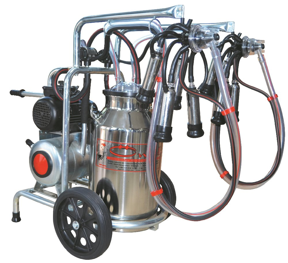 MILKING MACHINE-FOR COW MILKING-DOUBLE MILKING UNITS-SINGLE SS BUCKET-OC.1003