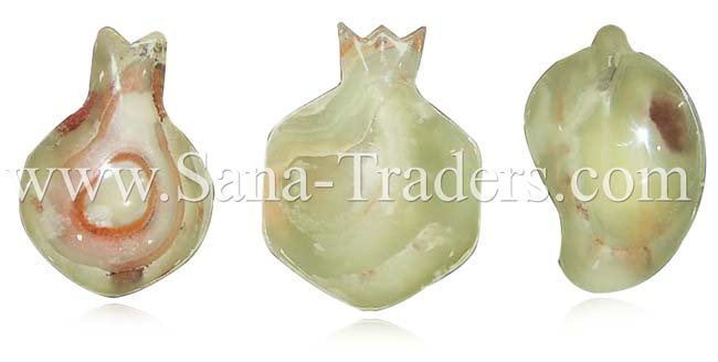 Natural Marble Onyx Designed Fruit Shaped Trays - Green