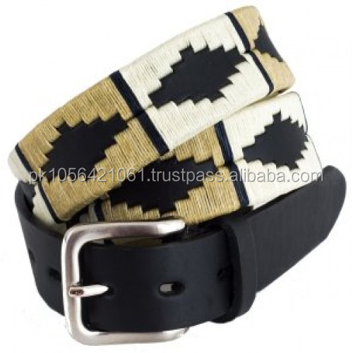 ARGENTINA EMBROIDERED LEATHER POLO BELT